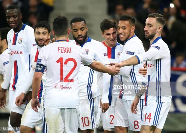 Houssem Aouar of Lyon celebrates his goal with Nabil Fekir Alexandre Lacazette Corentin Tolisso Sergi Darder during the UEFA Europa League Round of...