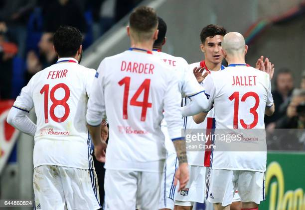 Houssem Aouar of Lyon celebrates his goal with teammates during the UEFA Europa League Round of 32 second leg match between Olympique Lyonnais and AZ...