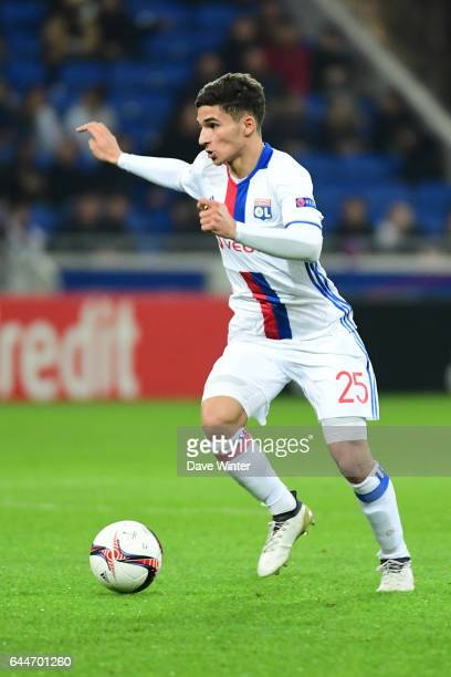 Houssem Aouar of Lyon during the Europa League match between Olympique Lyonnais and AZ Alkmaar at Stade des Lumieres on February 23 2017 in...