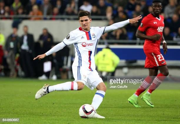 Houssem Aouar of Lyon in action during the UEFA Europa League Round of 32 second leg match between Olympique Lyonnais and AZ Alkmaar at Parc OL on...