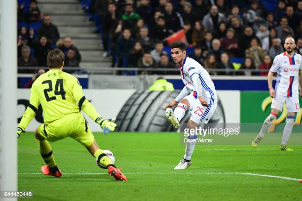 Houssem Aouar of Lyon puts his side 61 ahead during the Europa League match between Olympique Lyonnais and AZ Alkmaar at Stade des Lumieres on...
