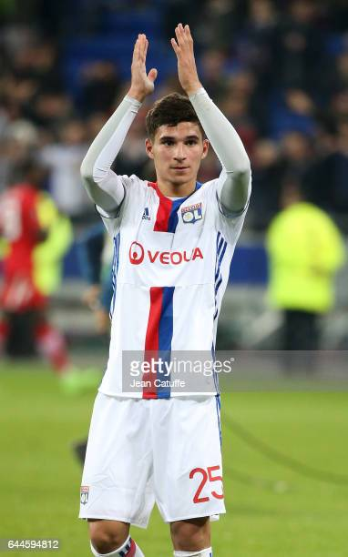 Houssem Aouar of Lyon thanks the supporters following the UEFA Europa League Round of 32 second leg match between Olympique Lyonnais and AZ Alkmaar...