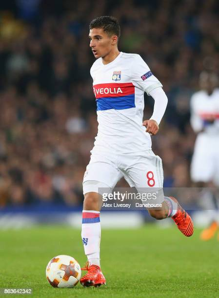 Houssem Aouar of Olympique Lyon runs with the ball during the UEFA Europa League group E match between Everton FC and Olympique Lyon at Goodison Park...