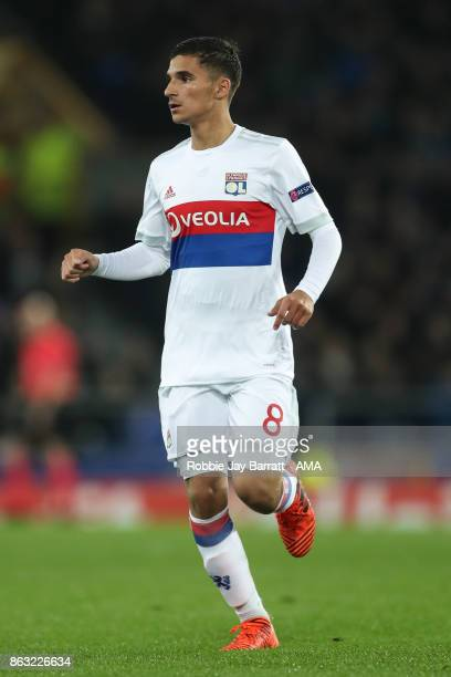 Houssem Aouar of Olympique Lyonnais during the UEFA Europa League group E match between Everton FC and Olympique Lyon at Goodison Park on October 19...