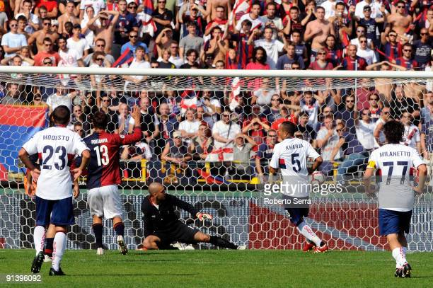 Houssine Kharja of Genoa CFC scores a penalty during the match of Serie A between Bologna FC and Genoa CFC at Stadio Renato Dall'Ara on October 4...