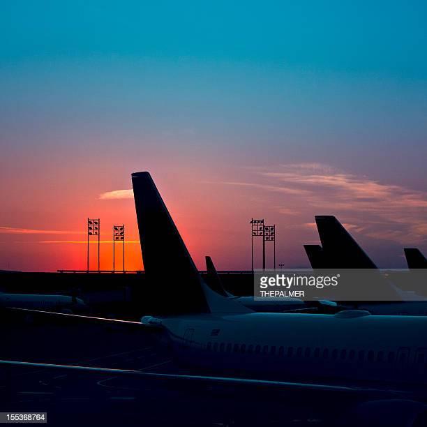 Flughafen houston bei Sonnenuntergang