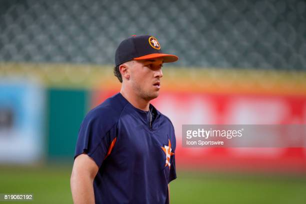 Houston Astros Alex Bregman heads to the batting cage during Houston Astros batting practice prior to a MLB baseball game between the Houston Astros...