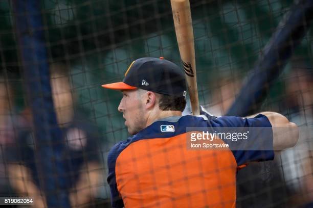Houston Astros Alex Bregman inside the batting cage shows during Houston Astros batting practice prior to a MLB baseball game between the Houston...