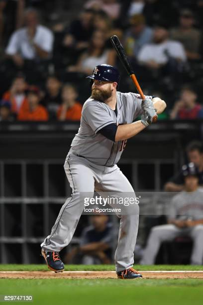Houston Astros catcher Brian McCann at bat during a game between the Houston Astros and the Chicago White Sox on August 9 at Guaranteed Rate Field in...