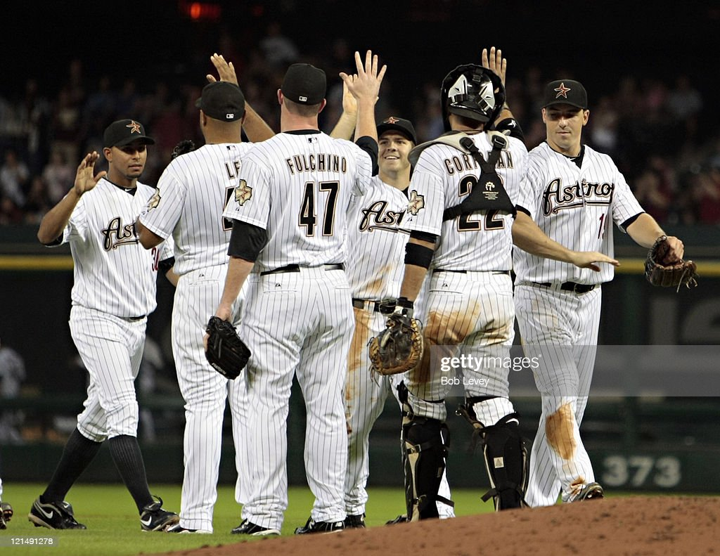 Houston Astros celebrate a 6-0 win over the San Francisco Giants at Minute Maid Park on August 19, 2011 in Houston, Texas.