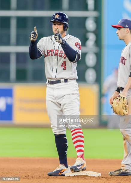 Houston Astros center fielder George Springer gives the thumbs up after doubling to deep center in the seventh inning of the MLB game between the New...