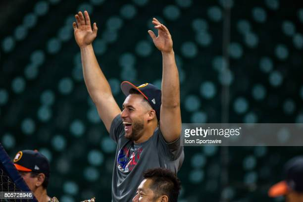 Houston Astros center fielder George Springer reacts by the batting cages during batting practice prior to a MLB baseball game between the Houston...