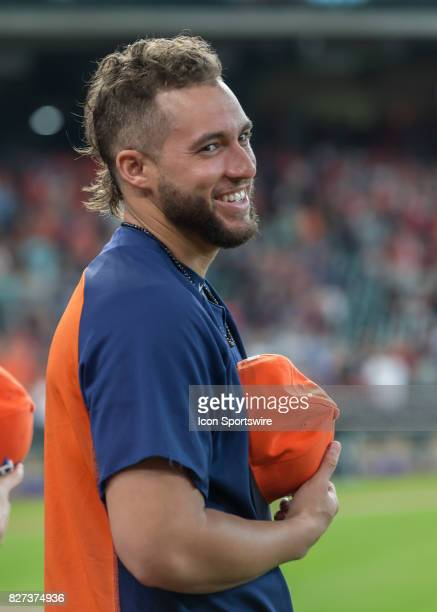 Houston Astros center fielder George Springer waits for the National Anthem to begin during the MLB game between the Toronto Blue Jays and Houston...