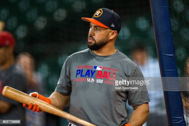 Houston Astros designated hitter Carlos Beltran by the batting cages during batting practice prior to a MLB baseball game between the Houston Astros...