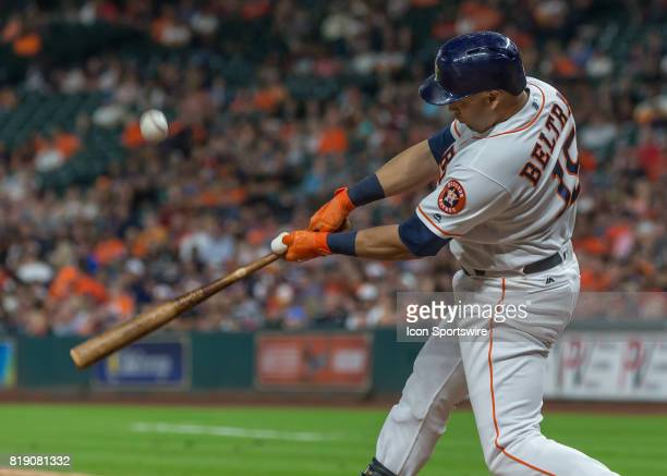 Houston Astros designated hitter Carlos Beltran hit a home run in the sixth inning of the MLB game between the Seattle Mariners and Houston Astros on...
