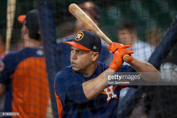 Houston Astros designated hitter Carlos Beltran inside the batting cage shows during Houston Astros batting practice prior to a MLB baseball game...
