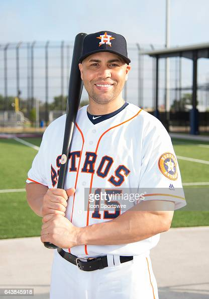 Houston Astros Designated Hitter Carlos Beltran poses for a portrait during Houston Astros Photo Day at The Ballpark of the Palm Beaches on February...