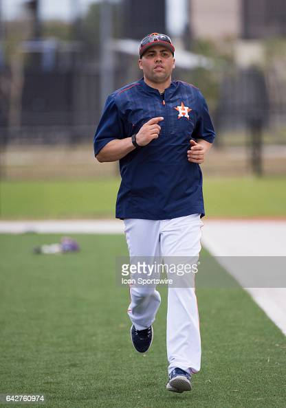 Houston Astros Designated Hitter Carlos Beltran runs during a Houston Astros spring training workout at The Ballpark of the Palm Beaches in West Palm...