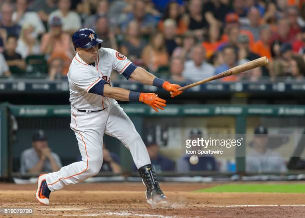 Houston Astros designated hitter Carlos Beltran struck out in the fourth inning of the MLB game between the Seattle Mariners and Houston Astros on...
