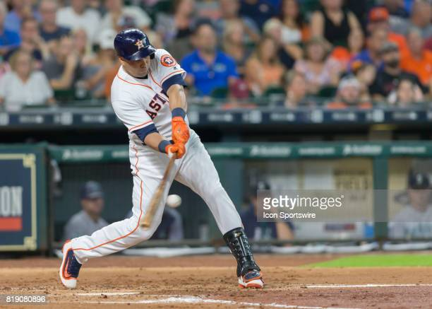 Houston Astros designated hitter Carlos Beltran struck out looking in the fourth inning of the MLB game between the Seattle Mariners and Houston...