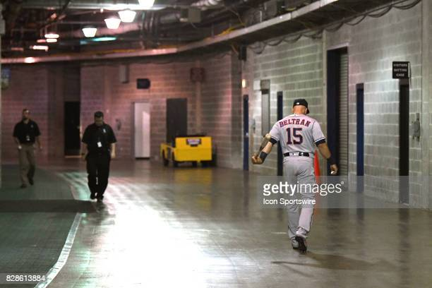 Houston Astros designated hitter Carlos Beltran walks to the batting cages in the tunnel prior to a game between the Houston Astros and the Chicago...