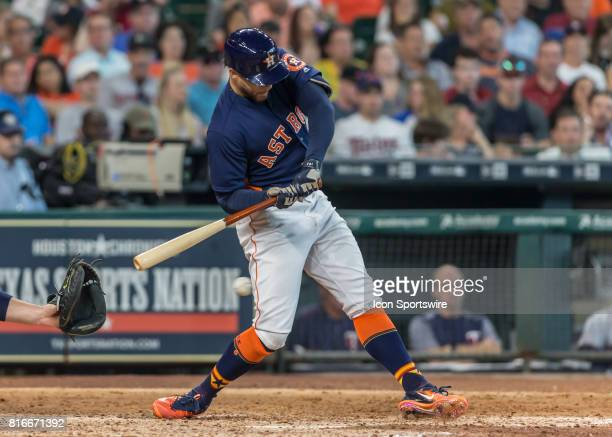 Houston Astros designated hitter George Springer grounded out to third in the seventh inning of the MLB between the Minnesota Twins and Houston...