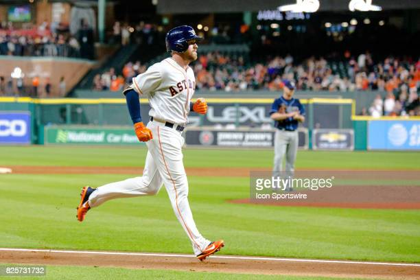 Houston Astros first baseman AJ Reed runs the bases after hitting a solo home run off Tampa Bay Rays starting pitcher Alex Cobb in the third inning...