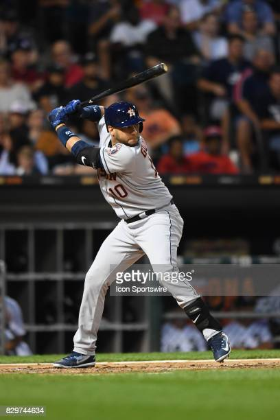 Houston Astros first baseman Yuli Gurriel at bat during a game between the Houston Astros and the Chicago White Sox on August 9 at Guaranteed Rate...