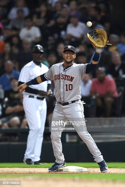 Houston Astros first baseman Yuli Gurriel forces at out at first base during a game between the Houston Astros and the Chicago White Sox on August 9...