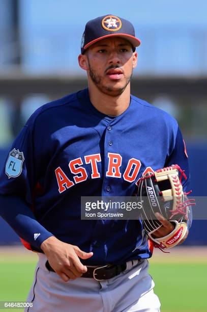 Houston Astros infielder Carlos Correa heads to the dugout during a Spring Training game between the Houston Astros and Washington Nationals on...