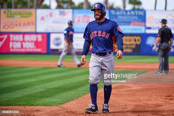 Houston Astros infielder Jose Altuve after his single during a Spring Training game between the Houston Astros and New York Mets on February 27 2017...