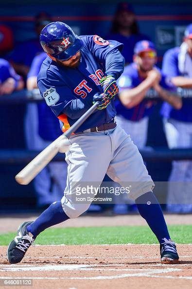 Houston Astros infielder Jose Altuve gets a hit during a Spring Training game between the Houston Astros and New York Mets on February 27 2017 at...