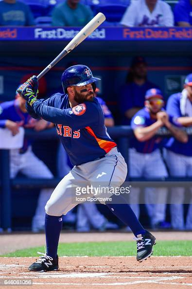 Houston Astros infielder Jose Altuve steps into a pitch during a Spring Training game between the Houston Astros and New York Mets on February 27...