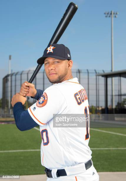 Houston Astros Infielder Yulieski Gurriel poses for a portrait during Houston Astros Photo Day at The Ballpark of the Palm Beaches on February 19...