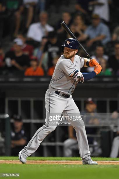 Houston Astros left fielder Derek Fisher at bat during a game between the Houston Astros and the Chicago White Sox on August 9 at Guaranteed Rate...