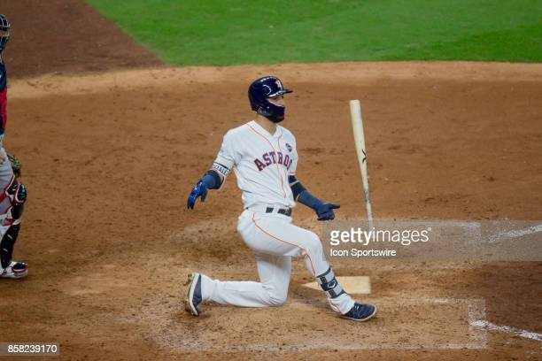 Houston Astros left fielder Marwin Gonzalez drops to one knee in the sixth inning during game one of American Division League Series between the...