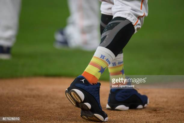 Houston Astros left fielder Marwin Gonzalez wearing colorful Astros socks for batting practice prior to an MLB game between the Houston Astros and...