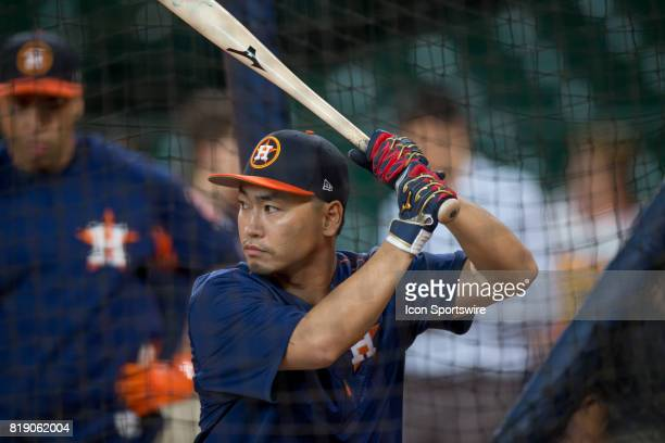 Houston Astros left fielder Norichika Aoki inside the batting cage shows during Houston Astros batting practice prior to a MLB baseball game between...