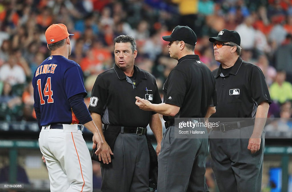 Houston Astros manager A.J. Hinch argues a call with the umpire crew dring their game against the Detroit Tigers at Minute Maid Park on April 17, 2016 in Houston, Texas.