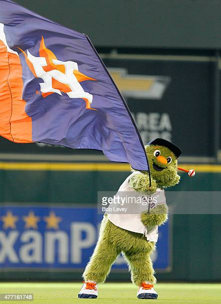 Houston Astros mascot Orbit celebrates a 130 win over the Seattle Mariners at Minute Maid Park on June 14 2015 in Houston Texas