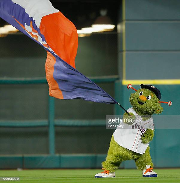 Houston Astros mascot Orbit celebrates a 41 win over the New York Yankees at Minute Maid Park on July 27 2016 in Houston Texas