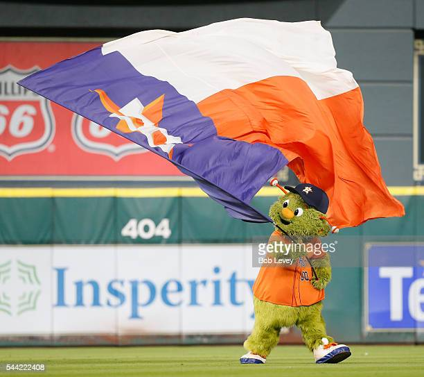 Houston Astros mascot Orbit celebrates a 50 win over the Chicago White Sox at Minute Maid Park on July 1 2016 in Houston Texas