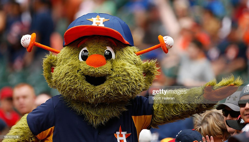 Houston Astros mascot Orbit is seen on the field before the game against the Cleveland Indians at Minute Maid Park on April 21 2013 in Houston Texas