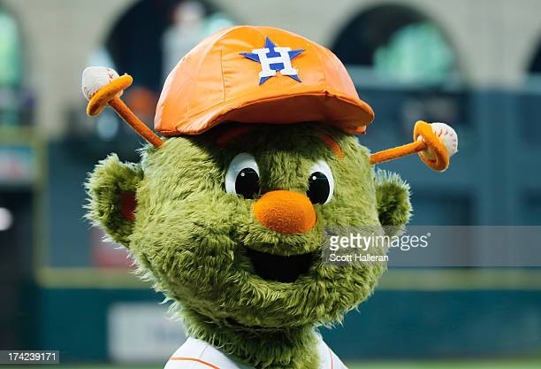 Houston Astros mascot Orbit is seen on the field before the start of the game against the Seattle Mariners at Minute Maid Park on July 20 2013 in...