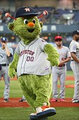 Houston Astros mascot Orbit is seen on the field before the start of the game during the Game one of Samurai Japan and MLB All Stars at Kyocera Dome...