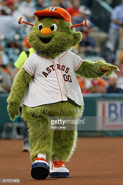 Houston Astros mascot Orbit walks the field during batting practice at Minute Maid Park on June 14 2015 in Houston Texas