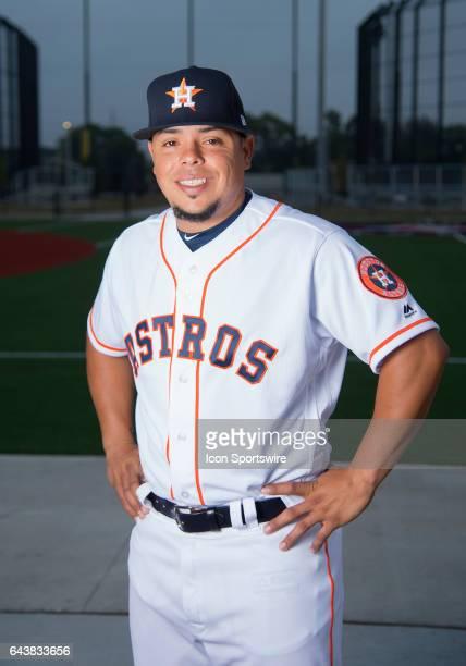 Houston Astros NonRoster Invitee Catcher Juan Centeno poses for a portrait during Houston Astros Photo Day at The Ballpark of the Palm Beaches on...