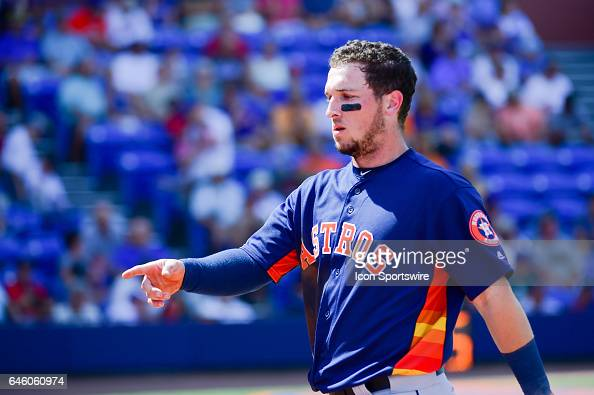 Houston Astros outfielder Josh Reddick after he lined out during a Spring Training game between the Houston Astros and New York Mets on February 27...