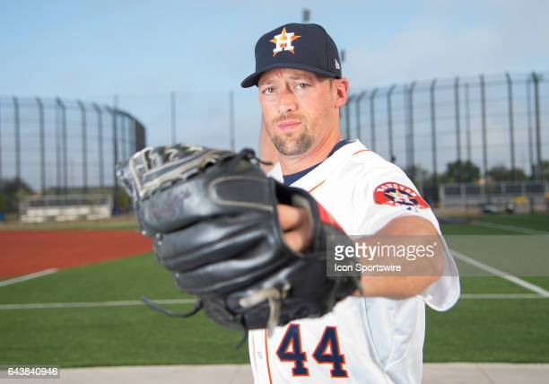 Houston Astros Pitcher Luke Gregerson poses for a portrait during Houston Astros Photo Day at The Ballpark of the Palm Beaches on February 19 2017 in...