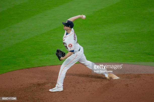 Houston Astros relief pitcher Chris Devenski delivers the pitch in the seventh inning during game one of American Division League Series between the...